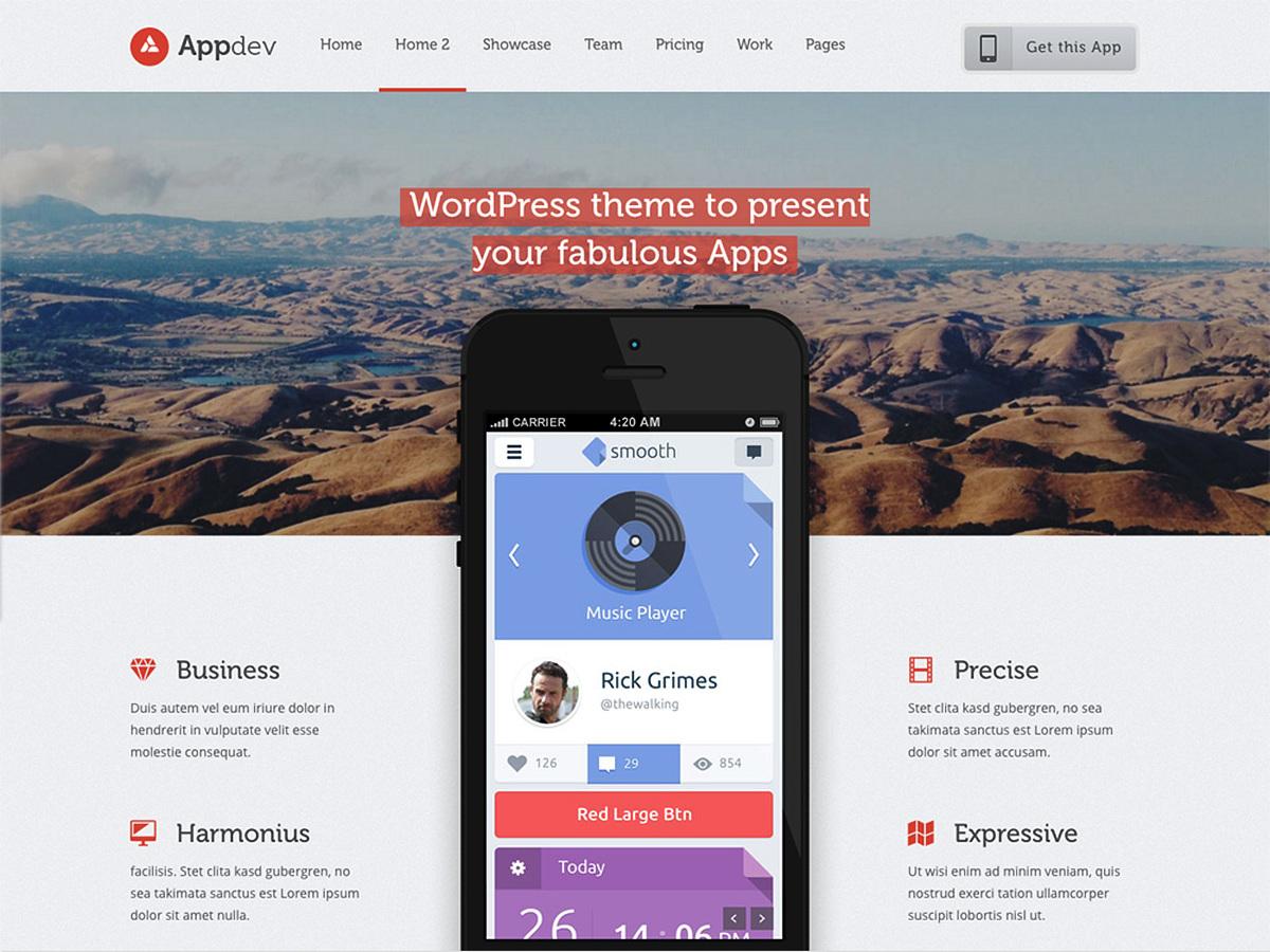 Appdev - Mobile App Showcase WordPress Theme