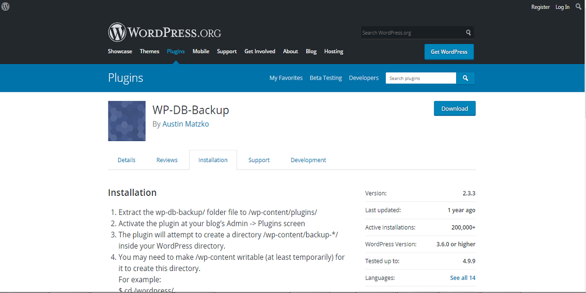 WordPress DB BackUp
