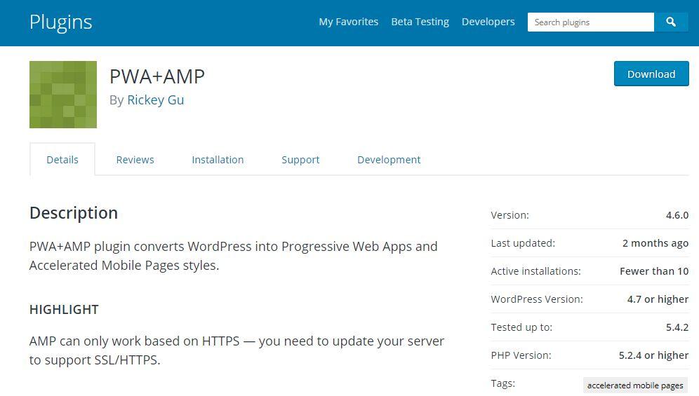 PWA for WordPress and AMP