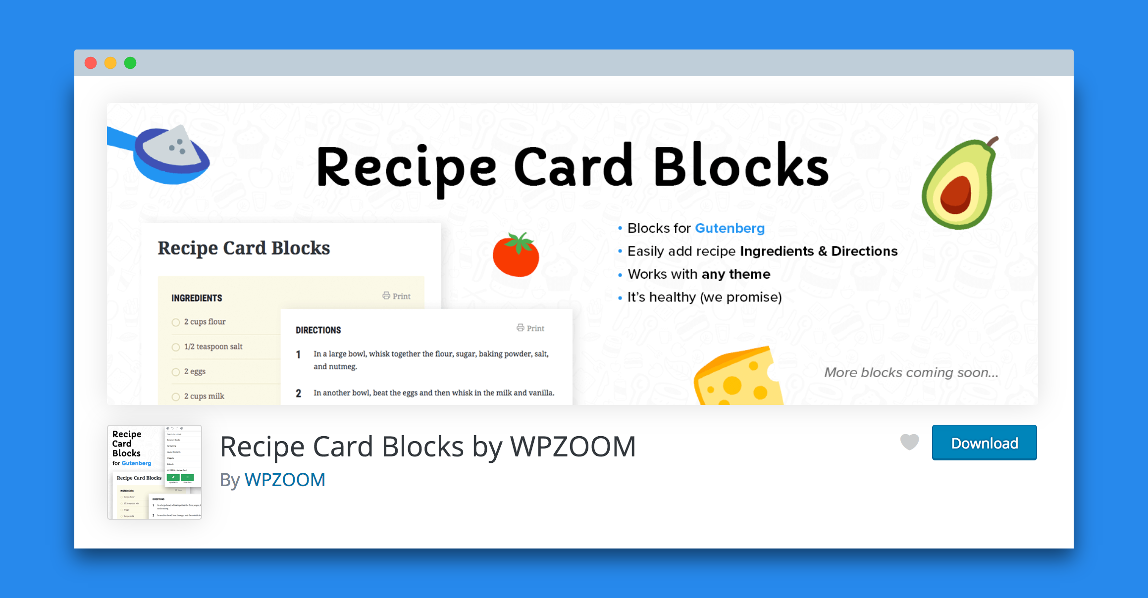 Recipe card blocks