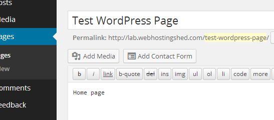 wordpress add new page