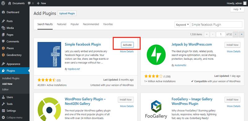 Activate Simple Facebook Plugin