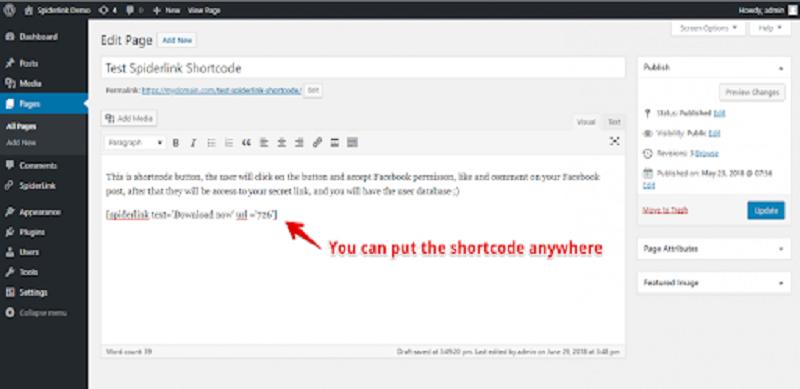 Add Facebook Spiderlink Shortcodes