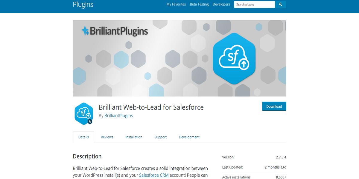 Brilliant Web-to-Lead for Salesforce Plugin