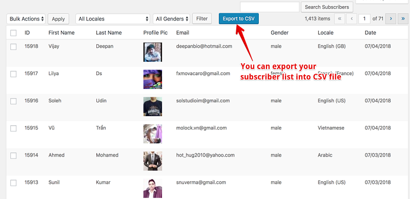 Export Subscribers CSV Formate