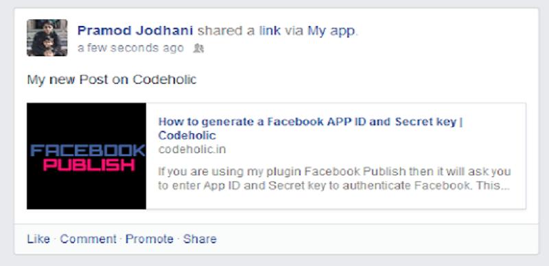 Facebook Publish Front End