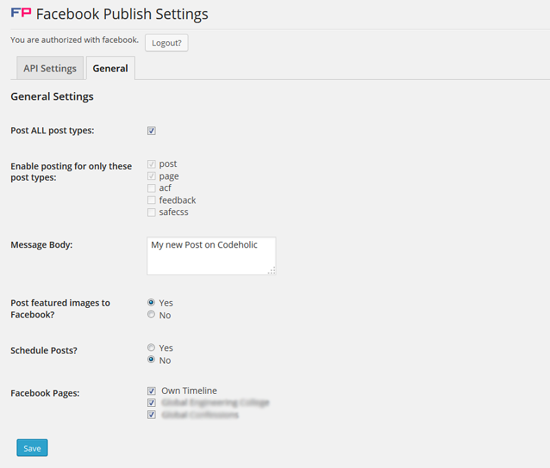 Facebook Publish General Setting