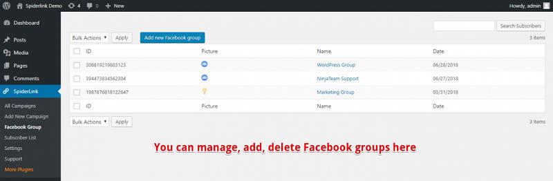 Facebook Spider Manage Group