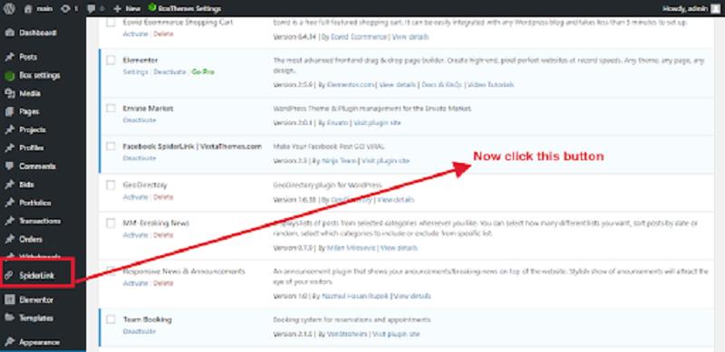 Facebook Spiderlink Plugin Admin Dashboard