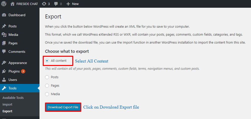 Start Export button