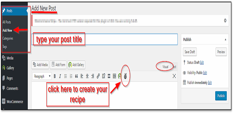 Click on the Recipe Card icon add new page