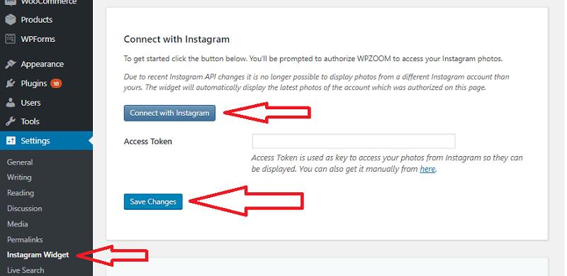 Instagram Widget by WPZOOM Dashboard