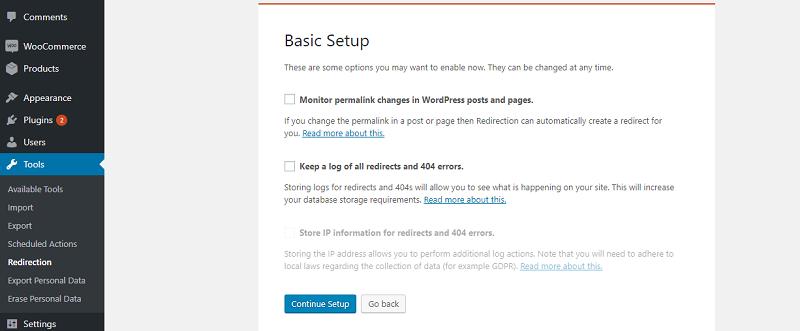 Redirection Basic Setup