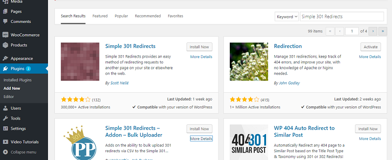 Simple 301 Redirects Installation