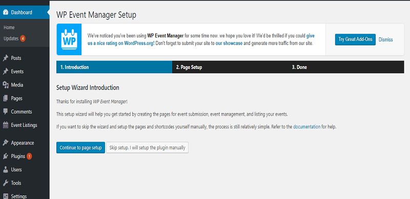 WP Event Manager Set Up