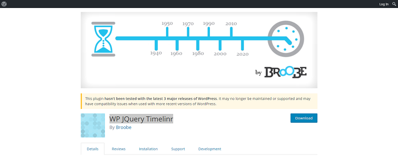 WP JQuery Timelinr Plugin