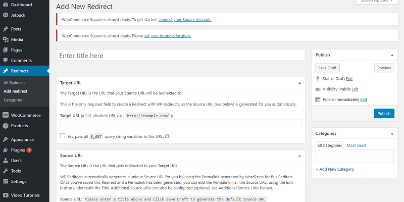 WP Redirects Settings