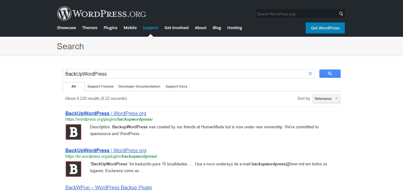 BackUpWordPress Plugin Search
