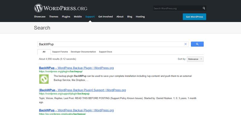 BackWPup Plugin Search