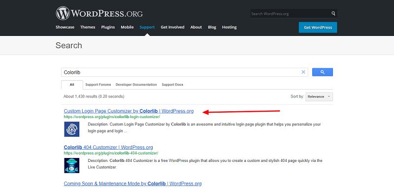 Custom Login Page Plugin Search