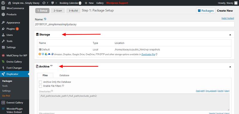 Duplicator Plugin Storage File