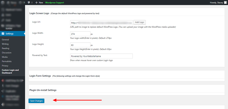 Erident Custom Login and Dashboard Save Changes