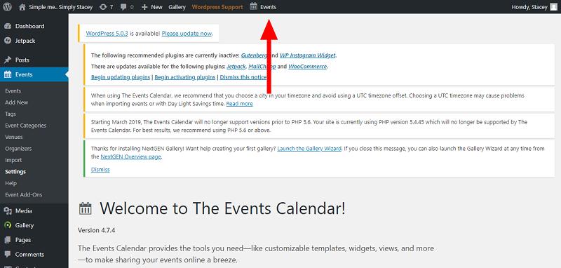 Events Calendar Plugin Dashboard