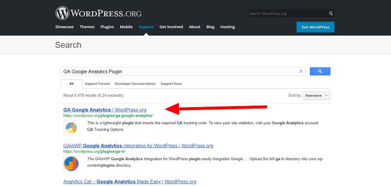 GA Google Analytics Plugin Search