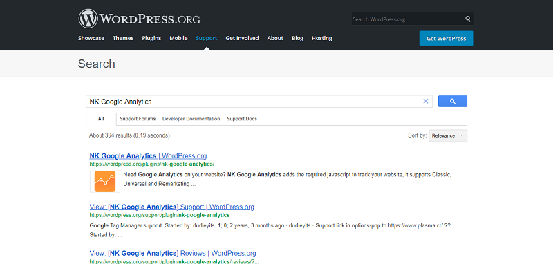 NK Google Analytics Plugin Search