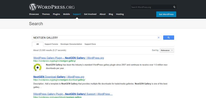 NextGEN Gallery Plugin Search