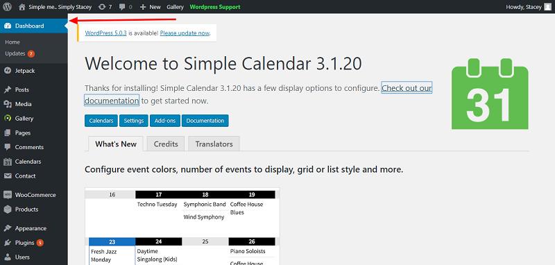 Simple Calendar Plugin Setup