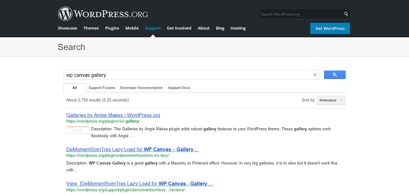 WP Canvas Gallery Plugin Search