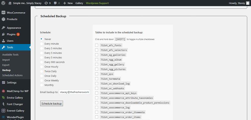 WP-DB-Backup Plugin Backup Schedule