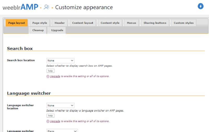 WeeblrAMP Customize Apprearance