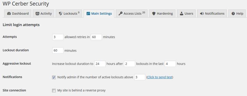 cerber security settings