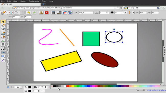 SVG-Edit has a very similar UI to MS paint