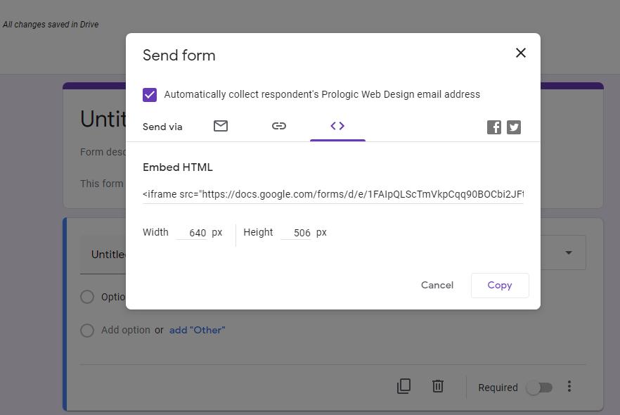 Embed Code Google Form