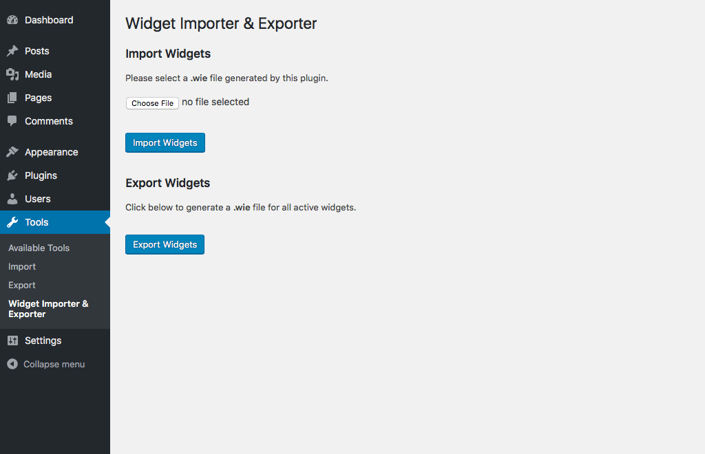 Wigdet import export plugin
