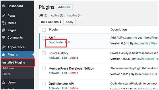 Disable AMP on Wordpress