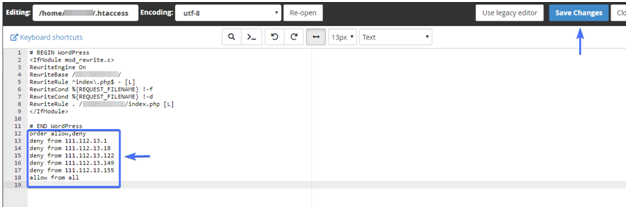 block IP Address in wordpress