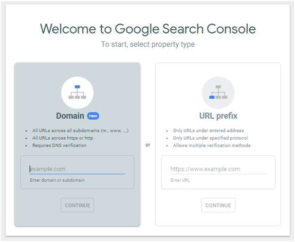 Welcome console page
