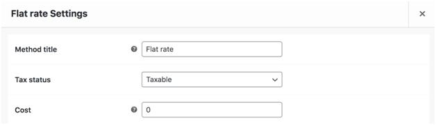 Flat rate settings