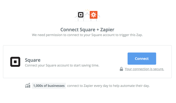 connect square with zapier