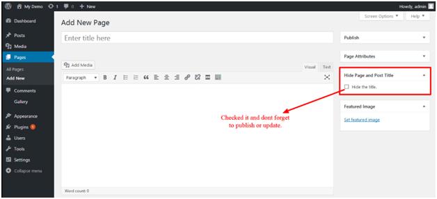 Hide Page Title in Wordpress