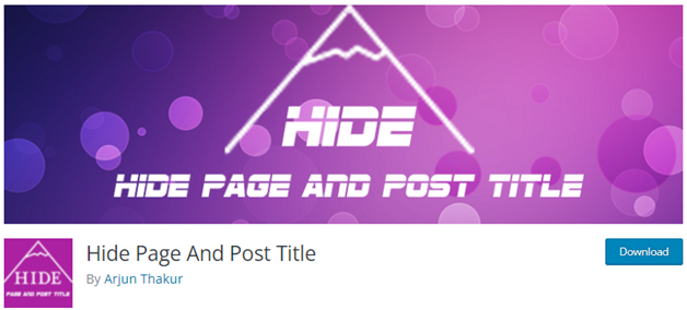 Hide Page and Post Title